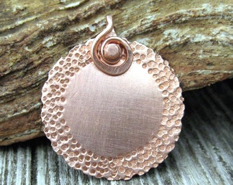 1 rustic hand hammered copper blank ready for your jewelry projects small copper disc