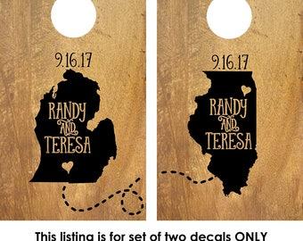 Corn Hole Board Decal | Rustic Wedding | Cornhole Board Monogram Decal | Cornhole Decal | Personalized Cornhole Game Decal | States