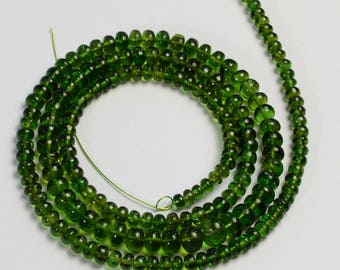 3mm-6mm Gem Chrome Green Tourmaline Smooth Rondelle Beads 18 inch strand