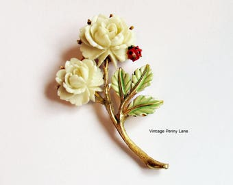 Vintage Celluloid Flower, Enamel Ladybug Brooch, Signed JJ