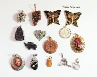 Vintage Charm Lot, Destash Findings / Pendants, Jewelry Making Supplies