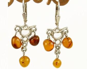 Sterling 925 Baltic Amber Earrings Modernist Design