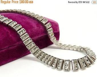 Art Deco Catamore Sterling Silver Rhinestone Necklace Bridal Wedding Jewelry