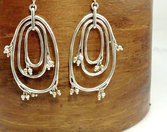 Vintage Sterling 925 Earrings Organic Earrings Boho Dangle Earrings