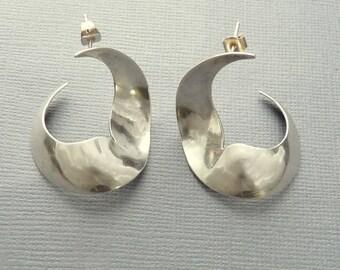 Modernist Sterling Earrings Pierced Statement Earrings