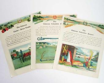 Set 3 1910 Vintage Osborne Farm Machinery Prints, Lithographs, Bookplate Advertisements, Columbia Reaper, Osborne Tedder, Columbia Mower