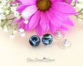 Silvery Blue Glass Stud E...
