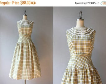 STOREWIDE SALE 1950s Dress / Vintage 50s Pale Gray and Yellow Checked Dress / 1950s Sheer Cotton Lace Trimmed Sundress XS S small