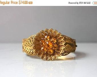 STOREWIDE SALE Antique Bracelet / Victorian Brass Floral Filigree Bangle Bracelet / Faceted Amber Glass Edwardian Gold Tone Bangle