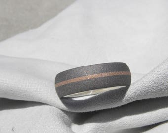 Ring, Wedding Band, Clearance Titanium with Rose Gold Inlay Stripe, Sandblasted, 7mm size 9.5