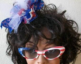 4th of JULY Tiny Little Mini Top Hat Glitter Blue, Stars, , Netting