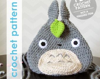 totoro crochet pattern, totoro mini backpack, crochet backpack pattern, totoro studio ghibli, water bottle backpack, drawstring pouch
