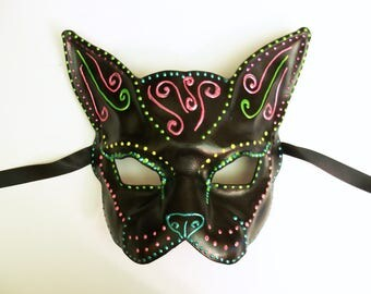 Leather Mask Black Cat with Bright Sugar Skull Inspired Decoration by Teonova spooky and pretty VERY lightweight and easy to wear