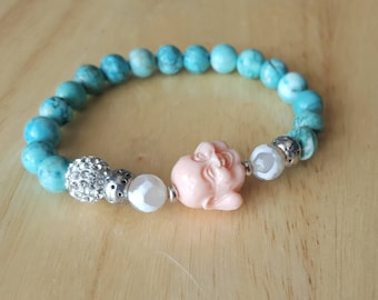 Laughing Buddha bracelet, beaded bracelet for women, mothers day gift mom gifts from daughter, yoga jewelry, mala beads bracelet, stacking