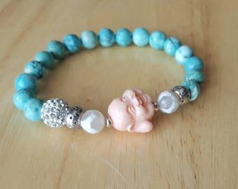 Laughing buddha beaded bracelet | womens turquoise gemstone bracelet | pave bracelet | pink buddha bracelet| stacking bracelet| boho jewelry