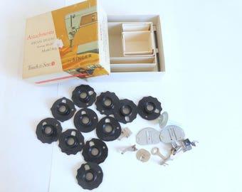 Singer Touch & Sew Model 603 Sewing Machine Attachments Discs Needleplates Presser Feet Vintage Singer Accesories Part N.  161819