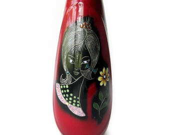 Vintage Melior Fantoni Gambone Era Stylized GIRL with Flower Vase 1960'S Sgrafitto Enamel Vase / Hand Painted in Italy / San Marino