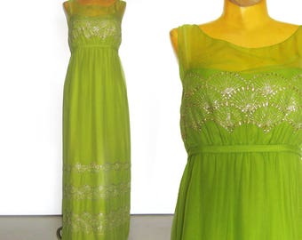 Vintage 1960s Goddess Gown / Sheer Chiffon Evening Gown / Bright Lime Green Maxi Dress / Long Formal Prom Dress / Pavillon / 35/36 Bust