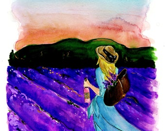 Travel Fashion Illustration of Woman Walking In Lavender Fields of  Provence Print