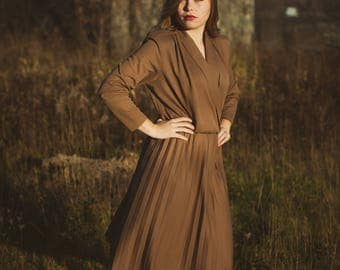80s Dress Pleated Brown Day Dress 1980s