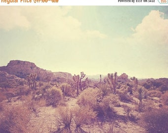 SALE landscape photo, Palm Springs desert rocks Joshua Tree national park California travel, photography, nature, blue yellow, Coachella ins