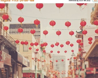 SALE Chinatown San Francisco photo, red paper lanterns, chinese decor, asian, city street scene, California photography, cherry red, San Fra