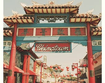 SALE Chinatown Los Angeles photograph, asian decor,  travel photography, photo, red chinese lanterns, sign, pagoda, temple, California art p