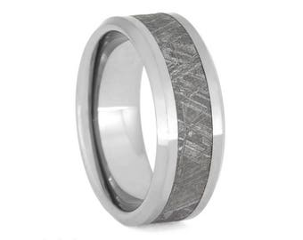 Tungsten Ring Gibeon Meteorite Inlay, Unique Mens Ring, Beveled Meteorite Jewelry