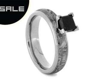 SALE - Meteorite Engagement Ring, Princess Cut Black Diamond Ring, 10k White Gold Engagement Ring