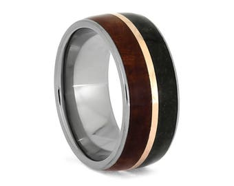 Coolibah Wood Ring, Fossil Wedding Band With Rose Gold And Titanium, Dinosaur Bone Jewelry