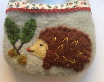 Sweet Hedgehog Childs Purse - Felt Purse