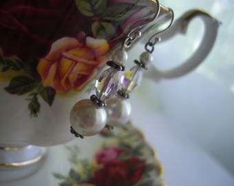Vintage Sterling Silver with Pearls As Seen At Martha Stewart Wedding Party Any Occasion Earrings Handmade Bridesmaid Gift