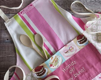 Baking apron,Ladies Baking apron,Hands off my buns,embroidered apron, pink apron, full apron, handmade apron, quirky apron, cake apron