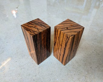 Zebrawood salt and pepper shakers