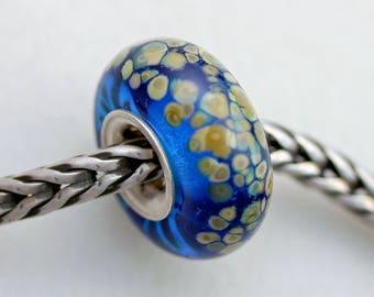 Unique Aqua Speckled Raku Bead  - Artisan Glass Bracelet Bead - (AUG-56)