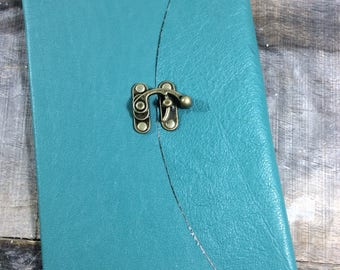 Turquoise Leather Baby Book with Latch