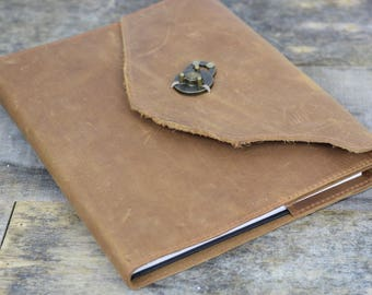 Leather Journal Large brown refillable leather notebook / rugged and unique
