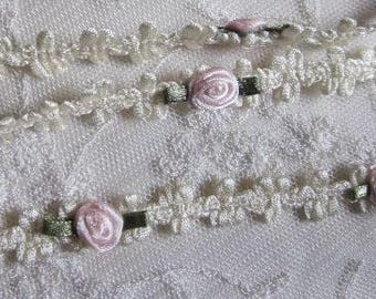 Cream Ivory Rococo Ribbon Trim w Blush Pink Rose Bud Flower Baby Scrapbook Quilt