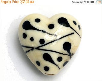 ON SALE 35% OFF Ivory w/Black Heart -11812705-Handmade Glass Lampwork Bead