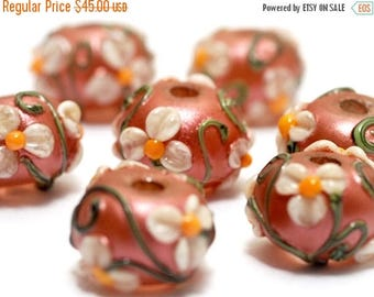 ON SALE 30% off Ivory Mist Flower on Coral Rondelle Beads - 10706201 Handmade Glass Lampwork Beads