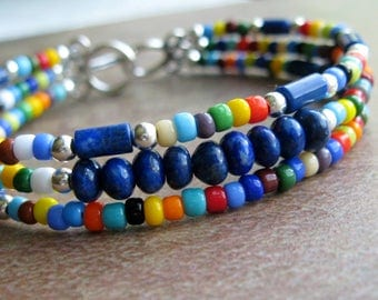 Lapis Multi Color Seed Bead Triple Strand Bracelet-Colorful Bracelet-Sterling Silver-Festive Colors-Three Strand Bracelet-Seed Bead Bracelet