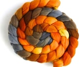 Rambouillet Wool Roving - Hand Painted Spinning or Felting Fiber, Fire Pit