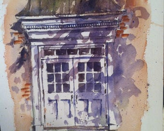 Doors Watercolour line and wash watercolor shadows old building