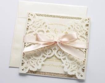 Lace Wedding Invitation | Elegant Wedding Invite | Laser Cut Wedding Invitation | Ivory & Gold Glitter | Vintage Rustic | LUNA Sample