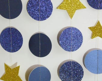 Starry Night Garland, Paper Garland, Twinkle Twinkle Little Star Decor, Paper Dot Garland, Night Sky Decoration