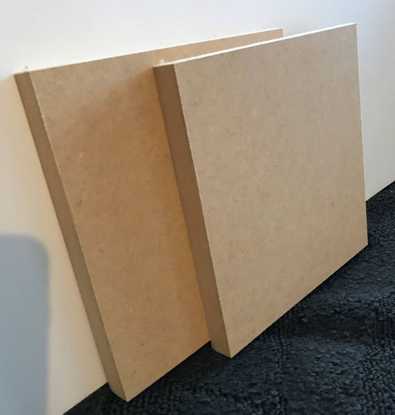 """Two MDF Panels 8"""" x 8"""" Mixed Media Art Wooden Panel Canvas Acrylic Painting Substrate 3/4 inch Two Panels"""