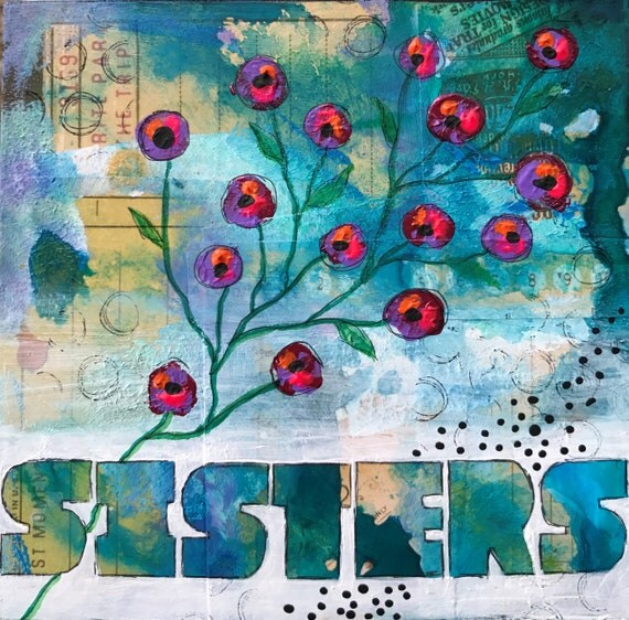 Original Mixed Media Painting on Wooden Panel Sisters Floral Flowers Whimsical