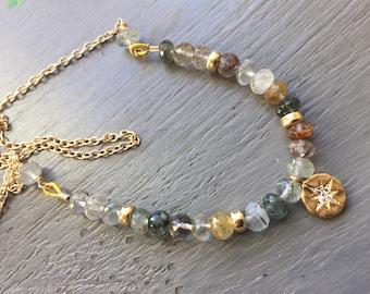 Gemstone Bar Necklace  Boho Chic Necklace Layering Necklace