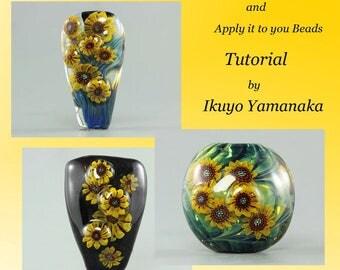 Lampwork Tutorial: How to make sunflower murrini and apply it to your beads by Ikuyo Yamanaka
