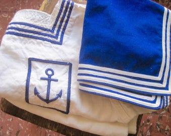 Sailor Top, Blue Jean Collar, Vintage Naval Wear, Sailor Collar, Anchor Top, French Navy Uniform, Tunic Top, French Sailor, Naval Activewear